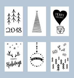 christmas posters set set winter holiday card vector image