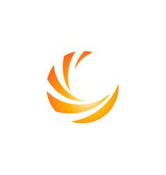 circle sphere orange color wave round logo icon vector image