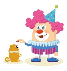 Clown with trained dog vector image