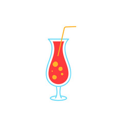 cocktail colorful doodle icon poster with vector image