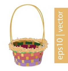 Color Easter wicker basket handmade vector
