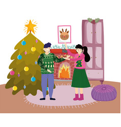 couple with mistletoe chimney tree merry christmas vector image