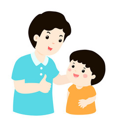Dad admire his son character cartoon vector
