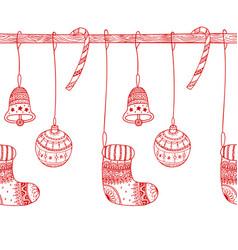 decorative seamless border of christmas symbols vector image