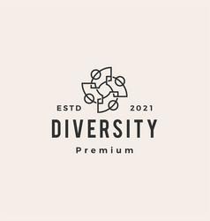 Diversity people team community hipster vintage vector