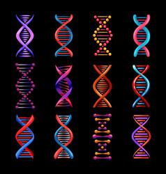 dna helix isolated icons genetics medicine vector image