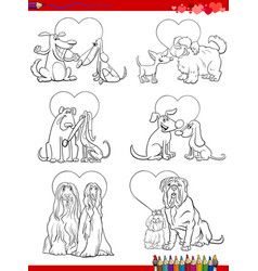 dog couples in love cartoons coloring book page vector image