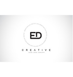 Ed e d logo design with black and white creative vector