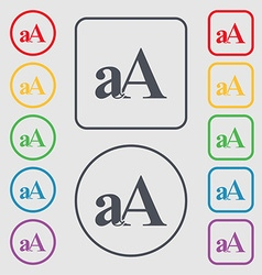 Enlarge font aA icon sign Symbols on the Round and vector