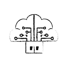 Figure brain cloud data with circuits and door vector
