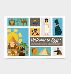 flat egypt elements set vector image