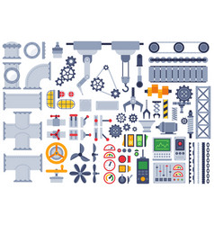 flat machinery auto construction different vector image