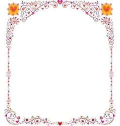 floral frame with hearts vector image