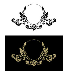 Frame with vintage pattern and angel wings two vector