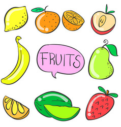 Fruit various doodles vector