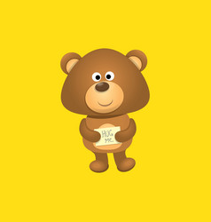 funny and ute teddy bear cartoon character vector image