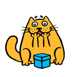 Funny orange cat enjoys the gift in the box vector