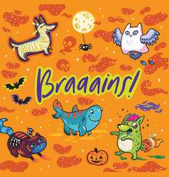 funny print for halloween holiday ideal for card vector image