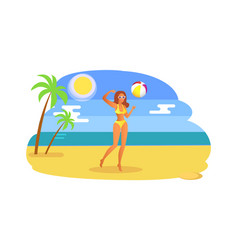 girl playing with ball coastline tropical seashore vector image