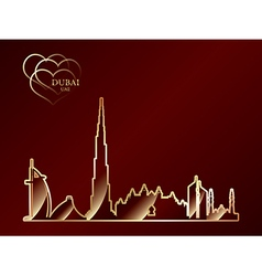 gold silhouette dubai on red background vector image
