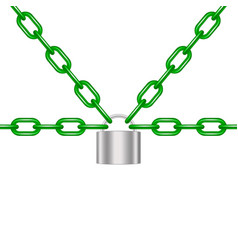 green chains locked by padlock in silver design vector image
