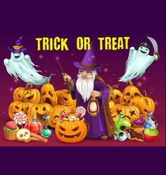 Halloween pumpkins with candies ghosts wizard vector