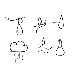hand drawn doodle water drop cartoon style vector image