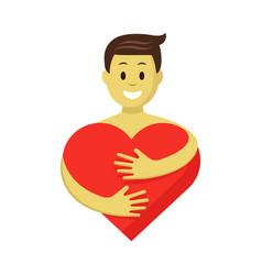 happy man in love hugging red heart romantic vector image
