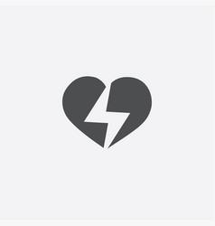 Heart lightning icon vector