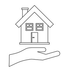 House and palm icon outline style vector image