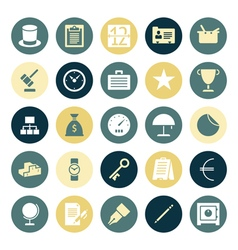 Icons plain round business money vector