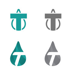 initial t letter droplet or initial t letter petro vector image