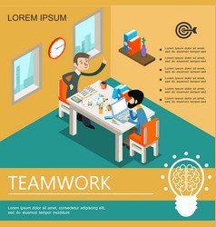 isometric business teamwork colorful template vector image