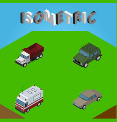 Isometric transport set of first-aid auto vector