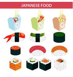 Japanese food sushi and seafood sashimi rolls vector