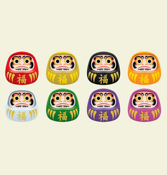 japans daruma doll set vector image