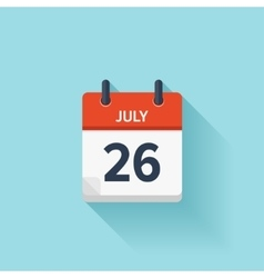 July 26 flat daily calendar icon Date vector