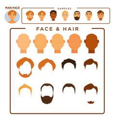 Man constructor with face and hair samples set vector