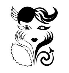 Minimal abstract 20s woman with devil tail vector