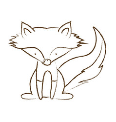 Monochrome hand drawn silhouette of fox sitting vector
