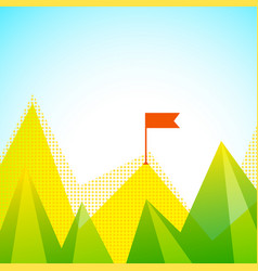 mountain peaks with flag vector image