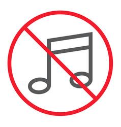No music line icon prohibition and forbidden vector