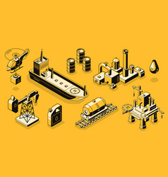 Oil industry objects isometric icons set vector