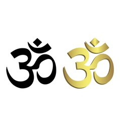 Om symbol in black and gold vector