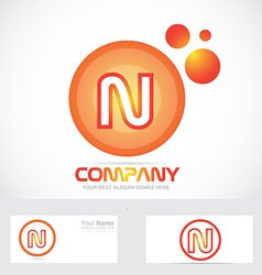 Orange circle letter n bubble logo icon vector image