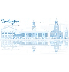 Outline Burlington Vermont City Skyline vector