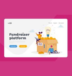 People collect money using crowdfunding platform vector