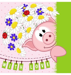 Pig with flowers love vector