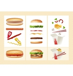 Poster with the ingredients for fast food vector
