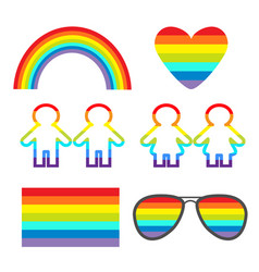 rainbow glasses heart sunglasses flag girl boy vector image